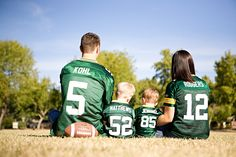 Family + Football. TJ loves the fact that they're Packers jerseys :) (also, posing)