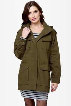 Cool Military Jacket - Army Green Jacket - Hooded Jacket - $116.00