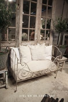 Small French Daybed - Ikea has something similar that could be painted and antiqued.