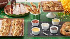 Game-Day Pretzel Bar - with 4 different pretzel recipes: Everything Pretzel Knots, Cheesy Pretzel Twists,  Victory Pretzel & Apple-Stuffed Pretzels.
