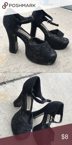Classified brand Black Platform high-heels Size 8    Crushed velvet.   Fun to wear! Goth vampire style Classified Shoes Heels