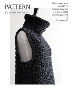 IMPORTANT: NOT A FINISHED PRODUCT This listing is for a crochet cowl vest pattern (a tutorial for you to make your own)  :) PATTERNS ARE NON