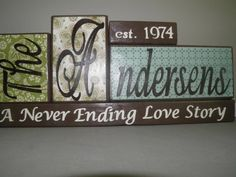 Family Name Wooden Block with Year by BeDazzledByMichelle on Etsy, $30.00
