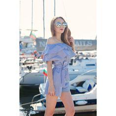 Womens Jumpsuit Summer Jumpsuit Off The Shoulder Jumpsuit Ruffle Jumpsuit Striped Jumpsuit Short Jumpsuit featuring polyvore, women's fashion, clothing, jumpsuits, off shoulder ruffle jumpsuit, special occasion jumpsuits, striped jumpsuit, off shoulder jumpsuit and evening jumpsuits