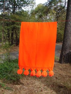 Vintage Neon Orange Shawl Wrap OR Table by NopalitoVintageMore, $40.00