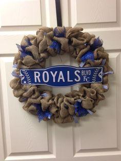 18 Burlap Kansas City Royals Wreath by ChristysCraftshop on Etsy, $49.00
