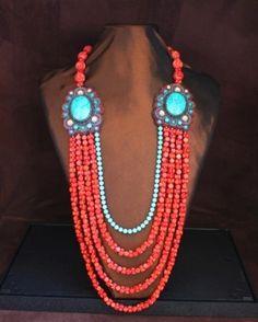 Faria Siddiqui - Sponge Coral & Turquoise Necklace
