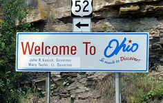 "Photo of an Ohio welcome sign on Highway 52. Credit: Andreas Faessler; Wikimedia Commons. Read more on the GenealogyBank blog: ""Ohio Archives: 194 Newspapers for Genealogy Research."" http://blog.genealogybank.com/ohio-archives-194-newspapers-for-genealogy-research.html"