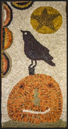 Star Rug Company: crow on pumpkin Wool Applique Patterns, Rug Hooking Patterns, Star Rug, Hand Hooked Rugs, Rug Company, Penny Rugs, Primitive Crafts, Handmade Rugs, Handmade Crafts