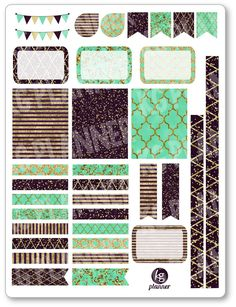One 6 x 8 sheet of teal glitz decorating kit/weekly spread planner stickers cut and ready for use in your Erin Condren life planner, Filofax, Plum Filofax, Erin Condren Life Planner, Stickers Cool, Glam Planning, Bullet Journal Ideas Pages, Daily Journal, Perfect Planner, Mini Happy Planner, Rolodex