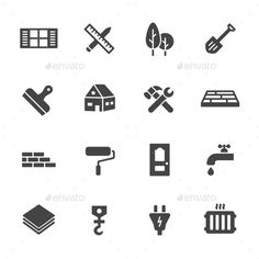 Construction Icons — Vector EPS #window #floor • Available here → https://graphicriver.net/item/construction-icons/12429263?ref=pxcr