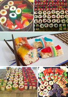 Instructions for how to make candy sushi with Rice Krispie treats, fruit roll ups, gummy worms, swedish fish, licorice strings and gummy sharks. Rice Krispie Treats, Rice Krispies, Cute Food, Yummy Food, Tasty, Sushi Party, Kid Sushi, Japanese Party, Nigiri Sushi