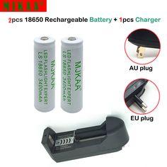 2 unids 18650 batería 3.7 v 3400 mah batería recargable de li-ion (no aa/aaa) + una pared cargador de batería de linterna led 18650