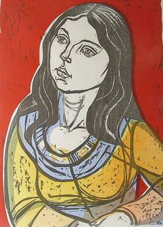 """Susan"", 12 x 17 - a woodcut by Irving Amen"