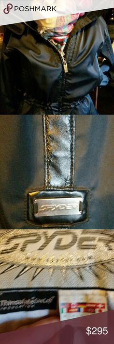 EUC Spyder Ski and Snow Jacket Amazing EUC black Spyder Ski/snowboard jacket.  Extremely warm cinch waist zipper open sleeve. Gorgeous!!   You won't find another one like this and yiu won't be sorry. Any questions please let me know;) Spyder Jackets & Coats