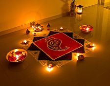 Deepavali,  Rangoli decorations, made using coloured powder, are popular during Diwali
