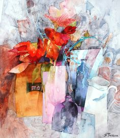 Shirley Trevena  Still Life with yellow Paper Bag - Watercolour 45 x 39 cm - SOLD