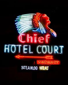 Fine Art Photo of The Chief Hotel Court Neon Sign in Las Vegas.
