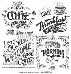 Hand-lettering signs set with sketches for coffee shop or cafe. Hand drawn vintage typography collection isolated on white background
