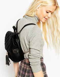 Image 3 ofASOS Backpack With Quilted Flap And Tassel