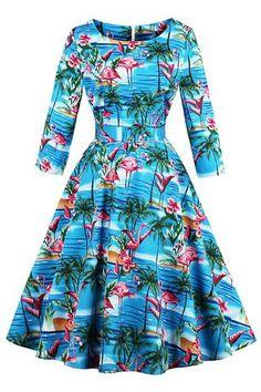 Atomic Blue Flamingo Feels Swing Dress