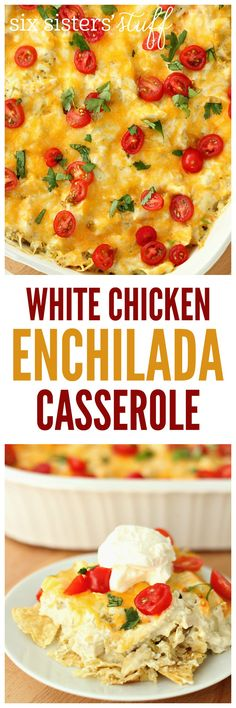 White Chicken Enchilada Casserole on SixSistersStuff.com - all the flavor of enchiladas in a FRACTION of the time!