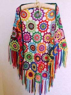 Colourful Crochet Shawl Boho Gypsy Shawl Hippie by fyboutique - no pattern Crochet Diy, Crochet Bolero, Crochet Shawl Free, Pull Crochet, Mode Crochet, Crochet Gratis, Crochet Shawls And Wraps, Crochet Scarves, Crochet Clothes