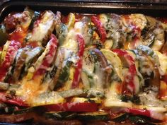 Baked LAYERED RATATOUILLE * Eggplant, bell peppers, zucchini, summer squash, tomato sauce w/onions, garlic & HERBS * Mozzarella CHEESE ** main dish or vegetable side dish *** Also TRADITIONAL RATATOUILLE with leftover cut-up vegetables
