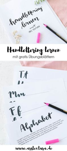 Learning handlettering – with my free practice sheets you will definitely succeed. Ideas Scrapbook, Scrapbook Designs, Scrapbook Cards, Scrapbooking, Lettering Brush, Brush Lettering Worksheet, Hand Lettering For Beginners, Hand Lettering Tutorial, Dog Pen