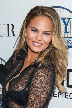 Chrissy Teigen's hair color doesn't just look effortless—it is effortless, thanks to the bronde shade and subtle sombré. // #Hair