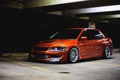 Orange Mitsubishi Lancer Evolution IX Evo Tuning Photo HD Wallpaper