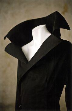 Yohji Yamamoto, blue wool tweed and feathered suit, Fall–Winter 1997–1998...