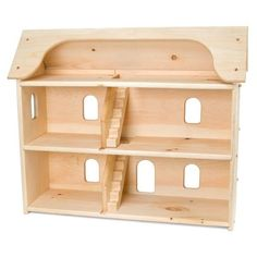 Seri's Dollhouse is a charming, three-story, wooden doll house crafted in Maine to last for generations. Large enough for several children to play together. Made of solid white pine with non-toxic finish.