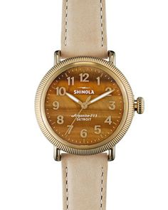 Runwell Coin Edge Watch with Leather Strap, 38mm by Shinola at Neiman Marcus.