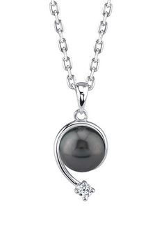 Sterling Silver 9mm AAA-Quality Tahitian South Sea Pearl & CZ Accent Pendant Necklace