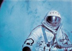 On March 18, 1965 Cosmonaut Alexei Leonov conducts the first ExtraVehichular Activity (EVA) or space walk by a human in low Earth orbit. (image courtesy: sciencephotolibray.com)