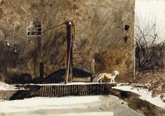 Andrew Wyeth (1917 — 2009, USA) Frozen Mill Race at Chadd's Ford with Wyeth's Dog, Nell Gwyn. 1969 watercolor and tempera on paper. 20 ¼ x 29 ¼ in.