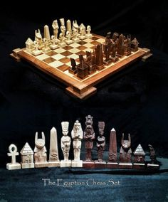 Chess Set Egyptian Chess Set on etsy by JimArnoldsChessSets