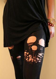 diy skull cutout tights by lynda