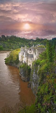 Chepstow Castle, Monmouthshire, Wales. Built from 1067-1300 on top of cliffs overlooking the River Wye, it is the oldest surviving post-Roman stone fortification in Britain.
