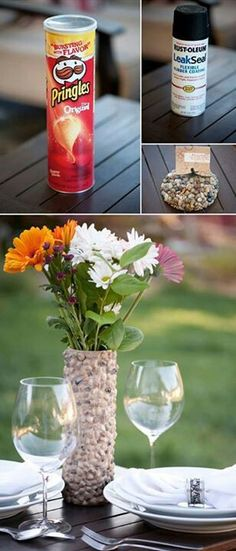 Great idea to try...i think i'd rather use a tall narrow glass candle holder?  I wonder if the rocks would stick?