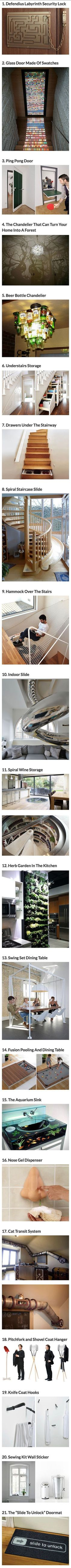 Some of these ideas would be AMAZING fun depending on my future home style.  Especially the shovel and pitchfork!! Check out my other pins and consider following me if you like what you see. #AwesomeInventions
