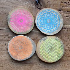 The Food Rules Collection - Neon Drink Coasters, crafted in the USA from reclaimed wood from urban trees, these limited run coasters will give your table color and spark.