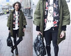 Choies Bomber, Sheinside T Shirt, Miamasvin Jeans