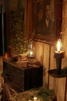 Hurricane Lamp Illuminates Christmas Greenery