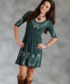 Take a look at this Green Empire-Waist Dress - Women by Roper on #zulily today!
