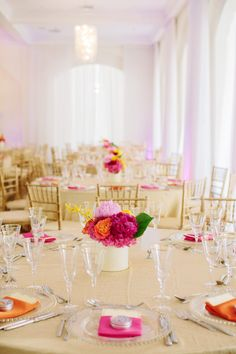 Bright & Colorful Wedding Tables | See more of the wedding on SMP -  http://www.StyleMePretty.com/massachusetts-weddings/2014/01/08/belle-mer-wedding/  Anna Wu Photography