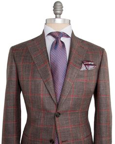 Canali   Brown with Red and Tan Windowpane Sportcoat   Apparel   Men's