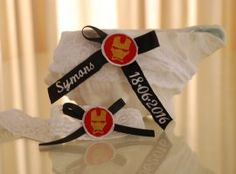 "Personalised ""Ironman"" garter set. Wedding Garters, Garter Set, Paper Shopping Bag, Home Decor, Decoration Home, Room Decor, Home Interior Design, Home Decoration, Bridal Garters"