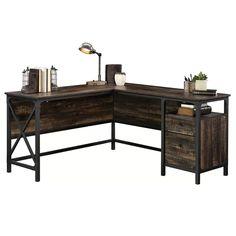 Sauder Steel River L-Shaped Desk, Carbon Oak Finish Industrial Office Desk, L Shaped Executive Desk, L Shaped Desk, L Shaped Office Desk, Hanging Files, Small Drawers, Paper Organization, Diy Desk, Corner Desk Diy